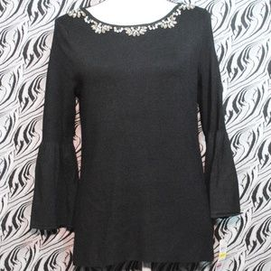 CHARTER CLUB Deep Black Rhinestone Sweater M NWT